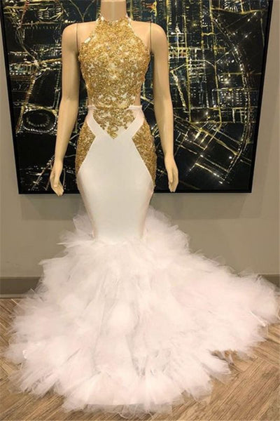 Black Girl Prom Dress Open Back Gold Lace Sexy Prom Dress on Mannequins | Mermaid Ruffles Cheap Evening Gowns Online Q0121