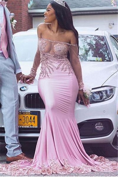 Black Girl Prom Dress Off-The-Shoulder Sheer Tulle Mermaid Prom Gown | Glamorous Long-Sleeves Applique Evening Gown D0323
