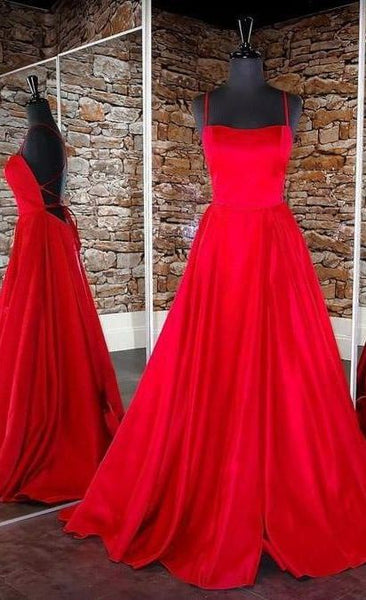simple red prom dresses, long red prom dressees, lace-up back red prom dresses, red satin prom dresses P02008