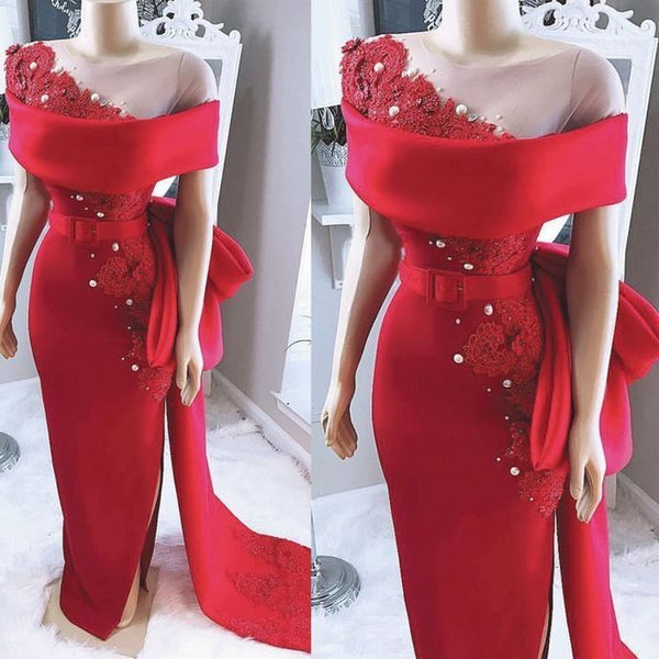 Charming Red Lace Mermaid Prom Dress, Long Evening Dress H3288