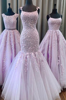 Mermaid Lace Appliques Long Prom Dresses Formal Evening Gowns 6011291