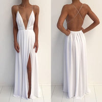 Simple white chiffon deep V neck long prom dress, white party dress cg7101