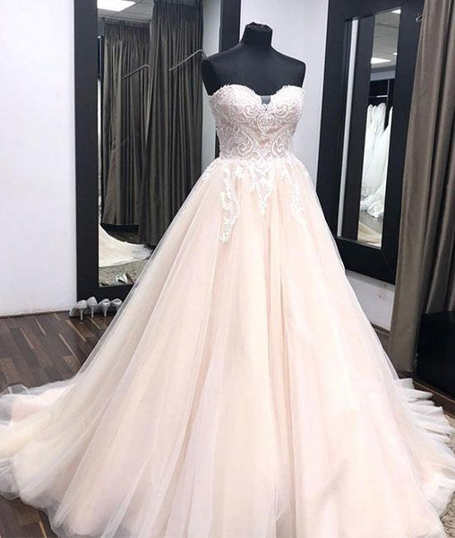 Unique sweetheart neck tulle lace applique long wedding dress, lace bridal dress KS4866