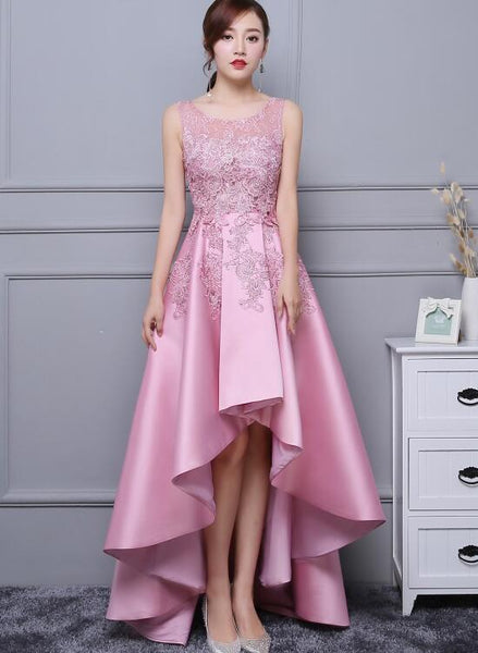 Beautiful Pink High Low Satin and Lace Homecoming Dress, Cute evening Gown KS5047