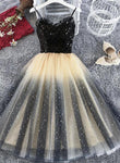Lovely Gradient Tulle Black Top Short Party Dress, Spaghetti Strap Cute Homecoming Dress KS5032
