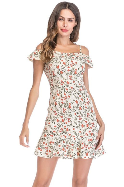 Summer Casual Dress Floral Printed Red White Short Sundress