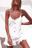 Summer Casual Dress Spaghetti Strap White Falbala Ruffled Sundress