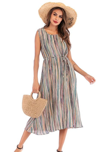 Summer Casual Dress Colorful Striped Summer Dress with Tie Waist