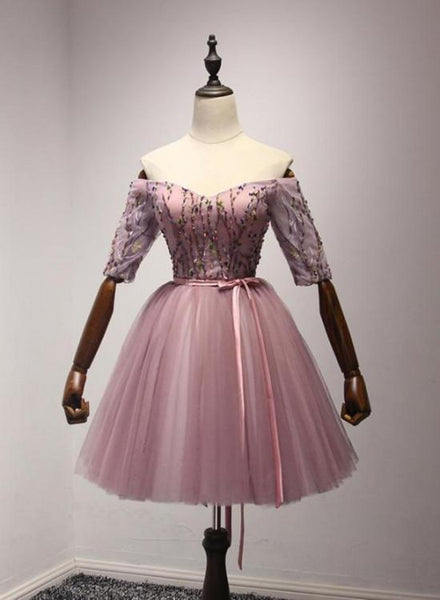 Pink Tulle Off Shoulder Ball Short Homecoming Dresses, Cute Dark Pink Prom Dress KS6695