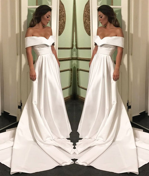Elegant Off Shoulder White Satin Long Prom Dresses, White Off Shoulder Wedding Dresses, White Formal Dresses KS1899