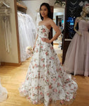 Custom Made A Line Sweetheart Neck White Prom Dress with 3D Appliques, White Formal Dress, Evening Dress KS2048