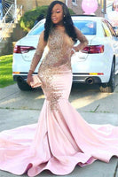 Black Girl Prom Dress Sparkling Beads Sequins Pink Prom Dresses Cheap | Long Sleeve Sheer Tulle Mermaid Evening Gowns JY0002