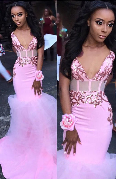 Black Girl Prom Dress Spaghetti Straps Sexy V-neck Pink Prom Dresses | Tulle Mermaid Appliques Cheap Evening Gowns Online JY0017