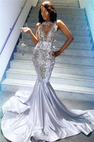 Black Girl Prom Dress Silver Beads Sequins Sexy Prom Dresses Cheap | Sleeveless Crystals Mermaid Evening Gowns bc3421