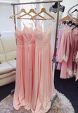 Pink chiffon long prom dress simple evening dress KS4011