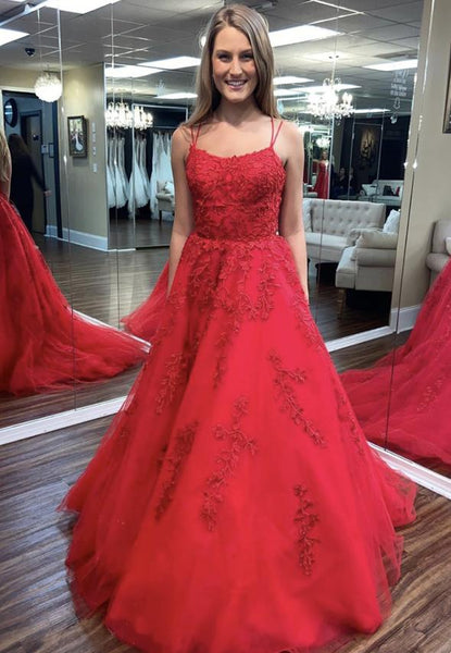 Red tulle lace long prom dress formal dress KS4048