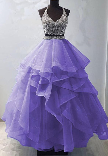 Two pieces tulle beads long prom gown evening dress KS4030