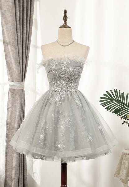 Cute tulle sequins short prom dress hoco dress KS3984