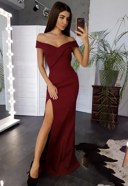Burgundy long prom dress mermaid evening dress KS4112