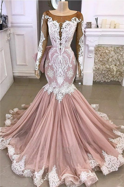 Black Girl Prom Dress Long Sleeve Mermaid Prom Dresses Cheap | Beads Lace Appliques Pink Evening Gowns BC4187
