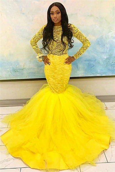 Black Girl Prom Dress Long Sleeve Yellow Prom Dresses Cheap | Mermaid Tulle Long Evening Gowns with Beads JY0004