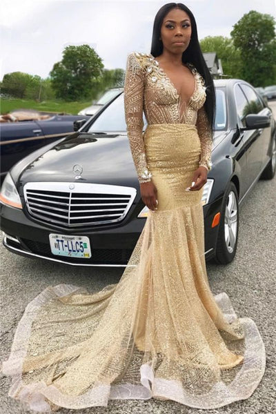 Black Girl Prom Dress Sexy V-neck Long Sleeve Gold Prom Dresses Cheap | Beads Crystals Mermaid Long Evening Gowns JY0082