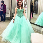 Elegant Green Beaded Tulle Quinceanera Dresses Sweet 16 Prom Dresses H4209