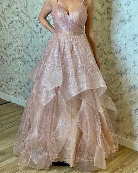 Sexy Long Prom Dress Ball Gown Pink Straps Sleeveless Evening Gowns 0125