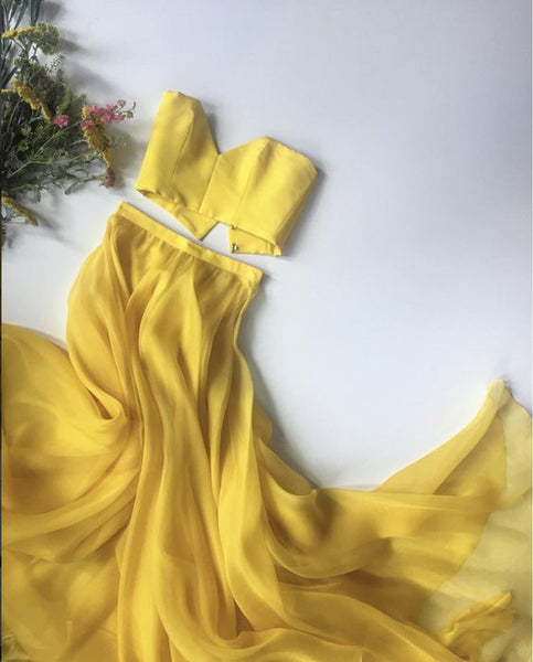 Long Prom Dress,Yellow 2 Pieces Popular Evening Dress ,Fashion Wedding Party Dress a003