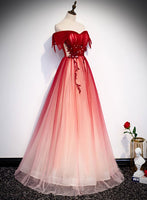 Lace Off the Shoulder Burgundy Tulle Prom Dress, Evening Dress