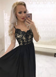 Black lace long prom dress black evening dress A09
