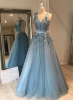 Silver Blue tulle lace long prom dress evening dress A17