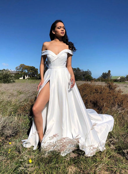 White satin long prom dress white evening dress A19