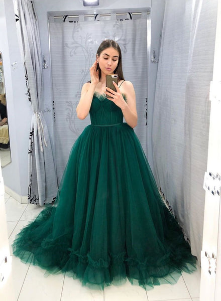 Hunter Green tulle long prom dress party dress A22