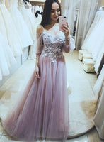 Pink tulle long prom dress pink evening dress A32