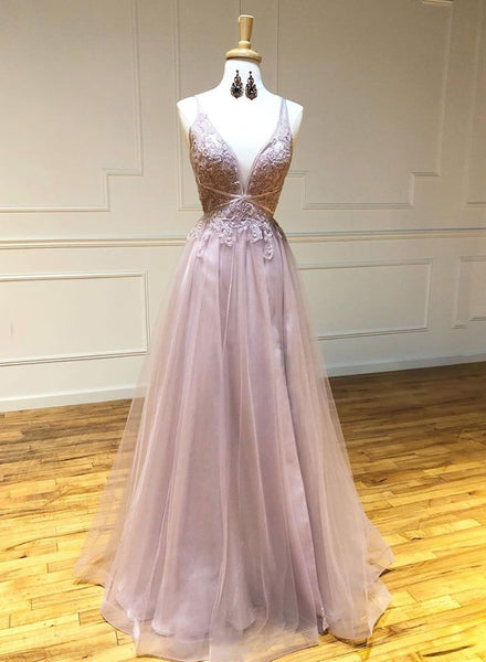 Pink v neck tulle lace long prom dress evening dress A34