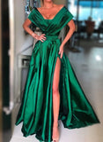 Simple green satin long prom dress evening dress A41