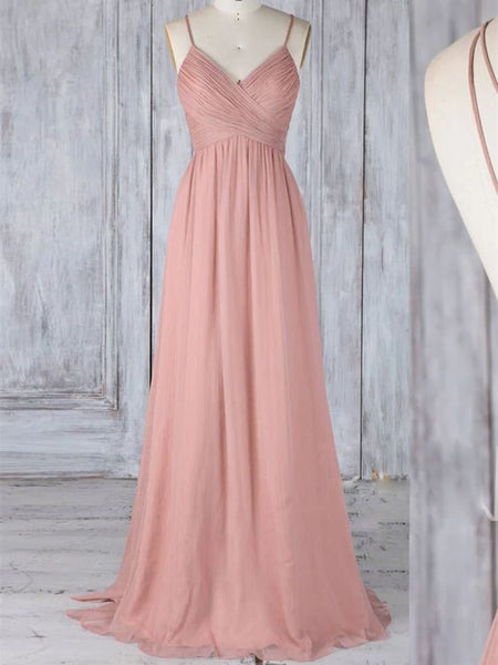 A Line Pink Long Prom Dresses, Pink Long Formal Evening Dresses A47