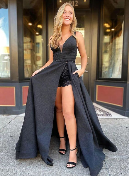 Unique black long prom dress black evening dress A47