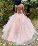 V Neck Tulle Lace Appliques Pink Long Prom Dresses, V Neck Pink Lace Formal Dresses, Pink Lace Evening Dresses A49