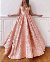 Pink a line long prom gown formal dress A50