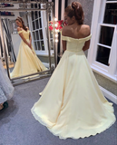 Yellow chiffon long prom dress yellow evening dress A51