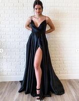Black Satin V Neck Spaghetti Strap Long Dress, Long Side Slit Evening Dress A53