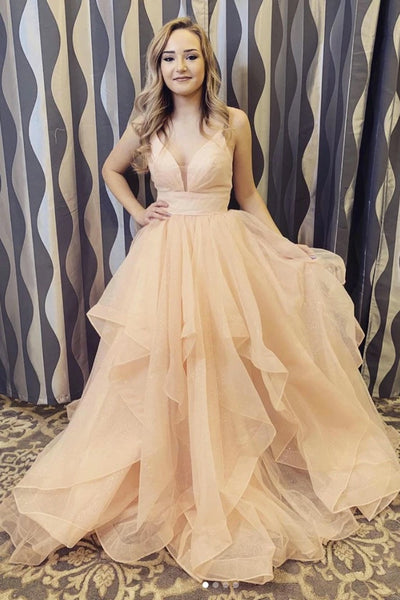 Champagne Tulle Deep V Neck Prom Dress,Evening Dresses A57