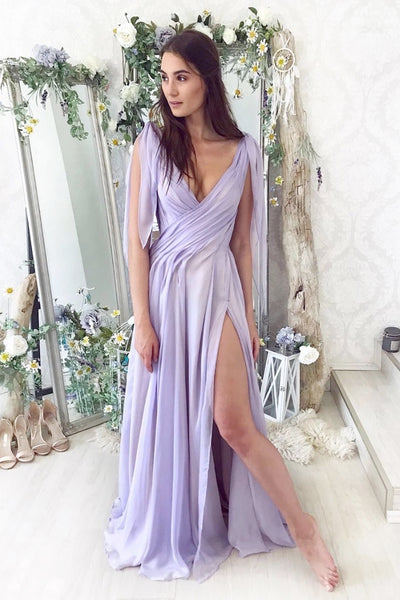 Lilac Chiffon Simple Long Prom Dress, Evening Dress With Side Slit A67