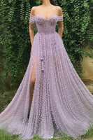 Sweetheart Light Lilac Pearl Tulle Off Shoulder Long Senior Prom Dress With Slit A68
