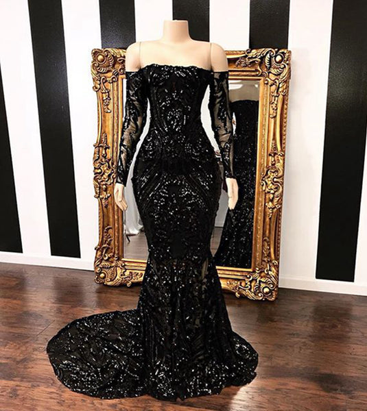 Black Lace Strapless Long Mermaid Prom Dress With Long Sleeves A70