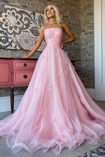Lace Strapless Long Pink Prom Dress A72