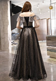 Black Tulle Off Shoulder Long Strapless Prom Dress, Party Dress A74