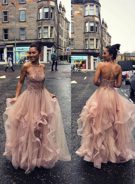 Pink Tulle Open Back Long Sequins Layered Prom Dress, Evening Dress A77